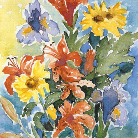 Monika_Tschach-01-Aquarell-Blumen-40x50-Feuerlilien