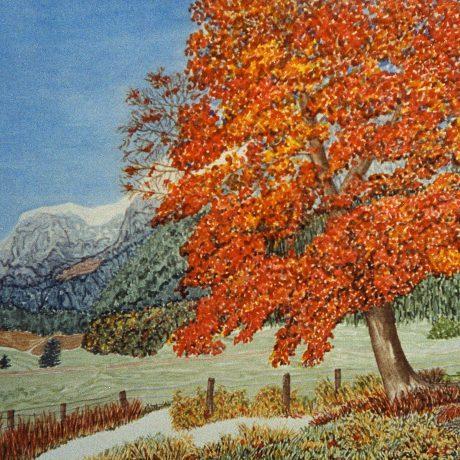 Monika_Tschach-01-Aquarell-Wand_und_Wiese-70x90-Herbststimmung