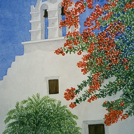 Monika_Tschach-01-Aquarell-Zivilisation-50x60-Kirche_in_Griechenland